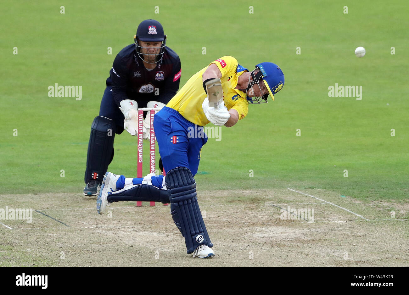 Durham's D'Arcy Short plays a shot bowled by Northamptonshire's Graeme White during the Vitality Blast T20 match at Emirates Riverside, Durham. - Stock Image