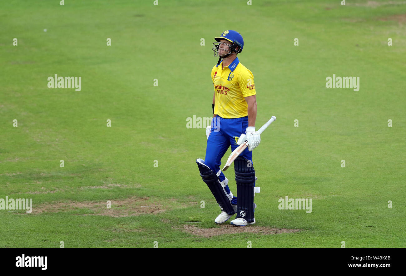 Durham's D'Arcy Short walks from the field after being caught out during the Vitality Blast T20 match at Emirates Riverside, Durham. - Stock Image