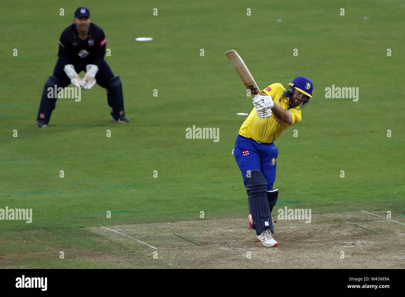 Durham's Graham Clark is bowled by Northamptonshire's Faheem Ashraf during the Vitality Blast T20 match at Emirates Riverside, Durham. - Stock Image