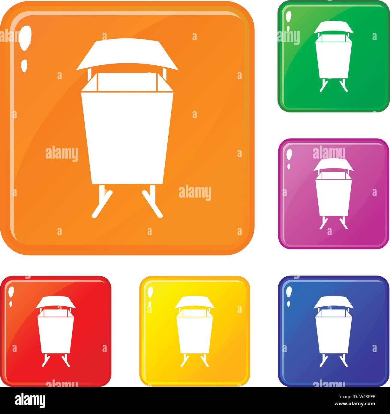 Litter waste bin icons set vector color - Stock Image