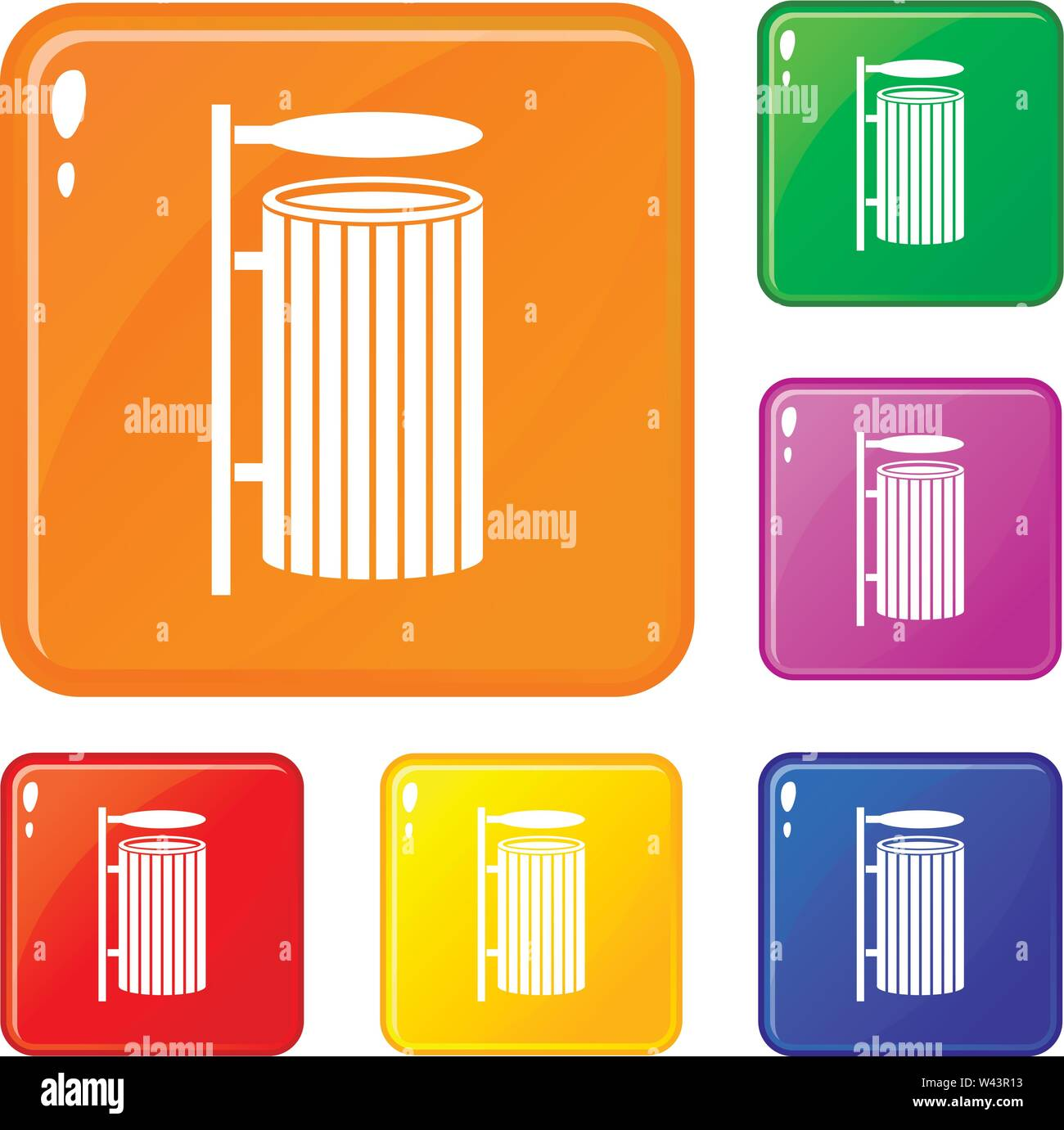 Public trash can icons set vector color - Stock Image