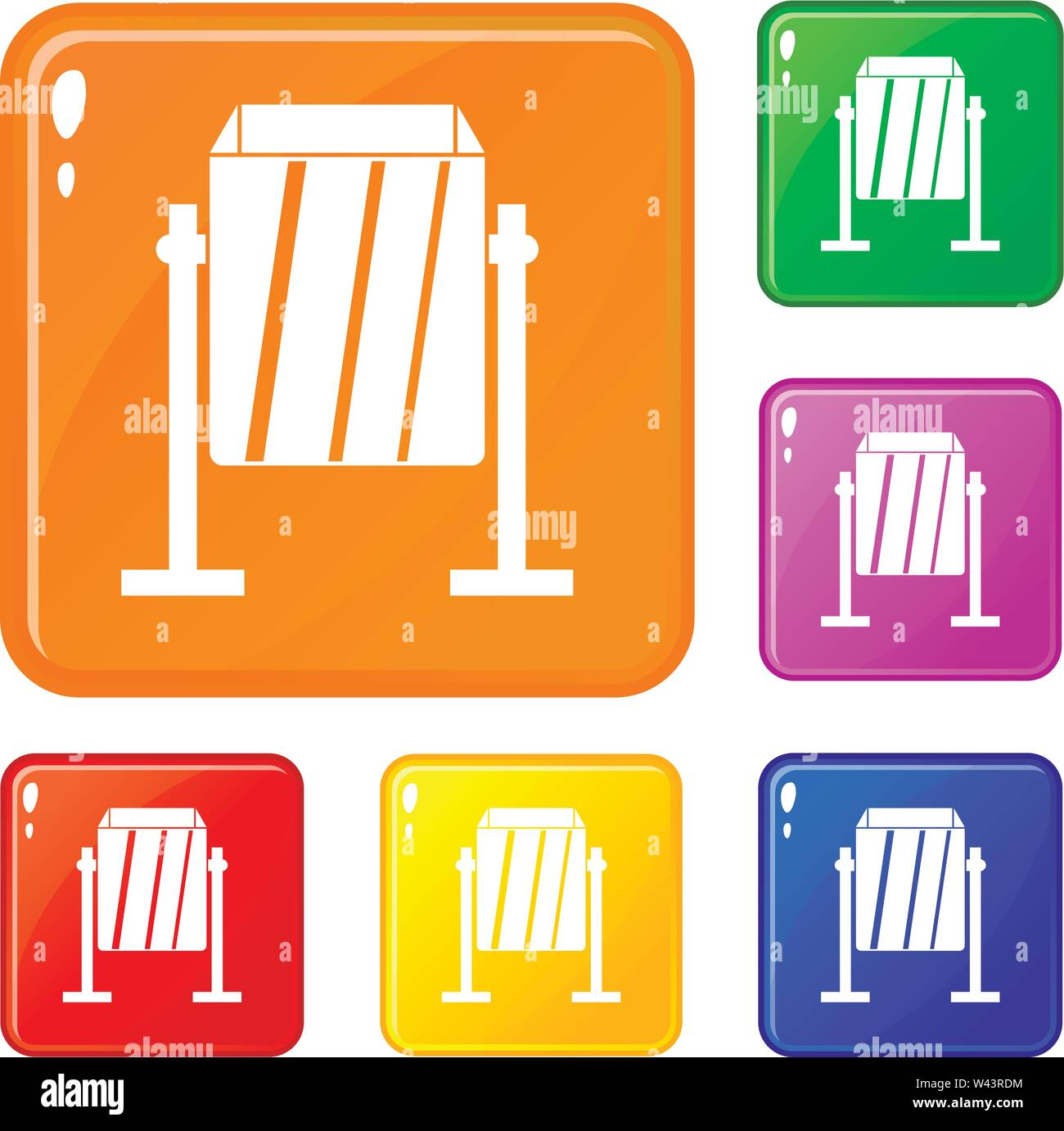 Metal dust bin icons set vector color - Stock Image