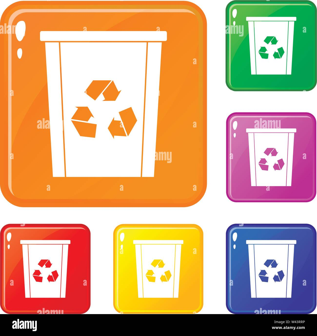 Trash bin with recycle symbol icons set vector color - Stock Image