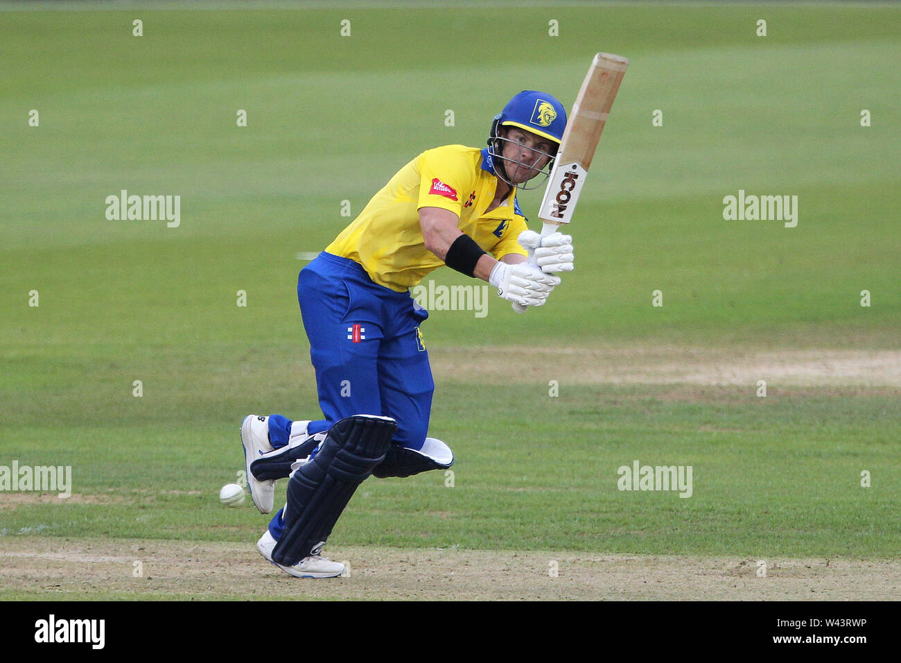 CHESTER LE STREET, ENGLAND 19th July 2019. 2019. D'arcy Short fo Durham batting during the Vitality T20 Blast match between Durham County Cricket Club and Northamptonshire County Cricket Club at Emirates Riverside, Chester le Street on Friday 19th July 2019. (Credit: Mark Fletcher   MI News ) Credit: MI News & Sport /Alamy Live News - Stock Image