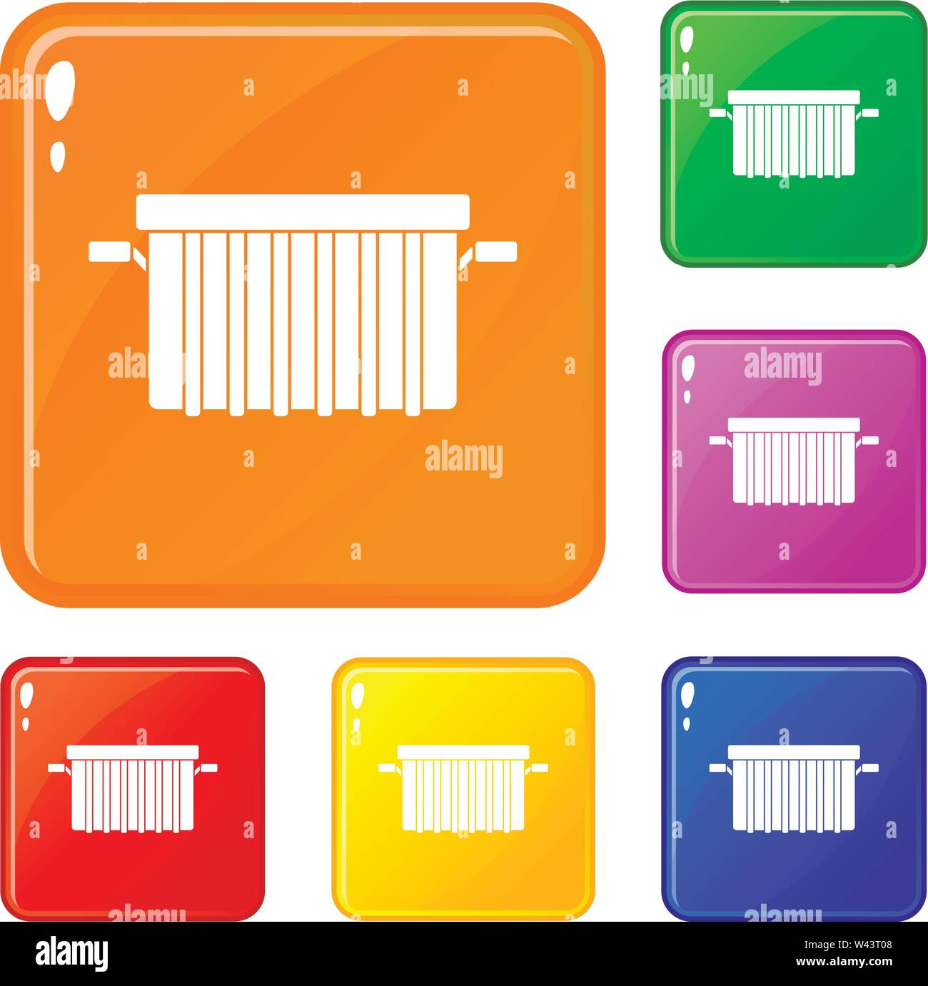 Garbage tank icons set vector color - Stock Image