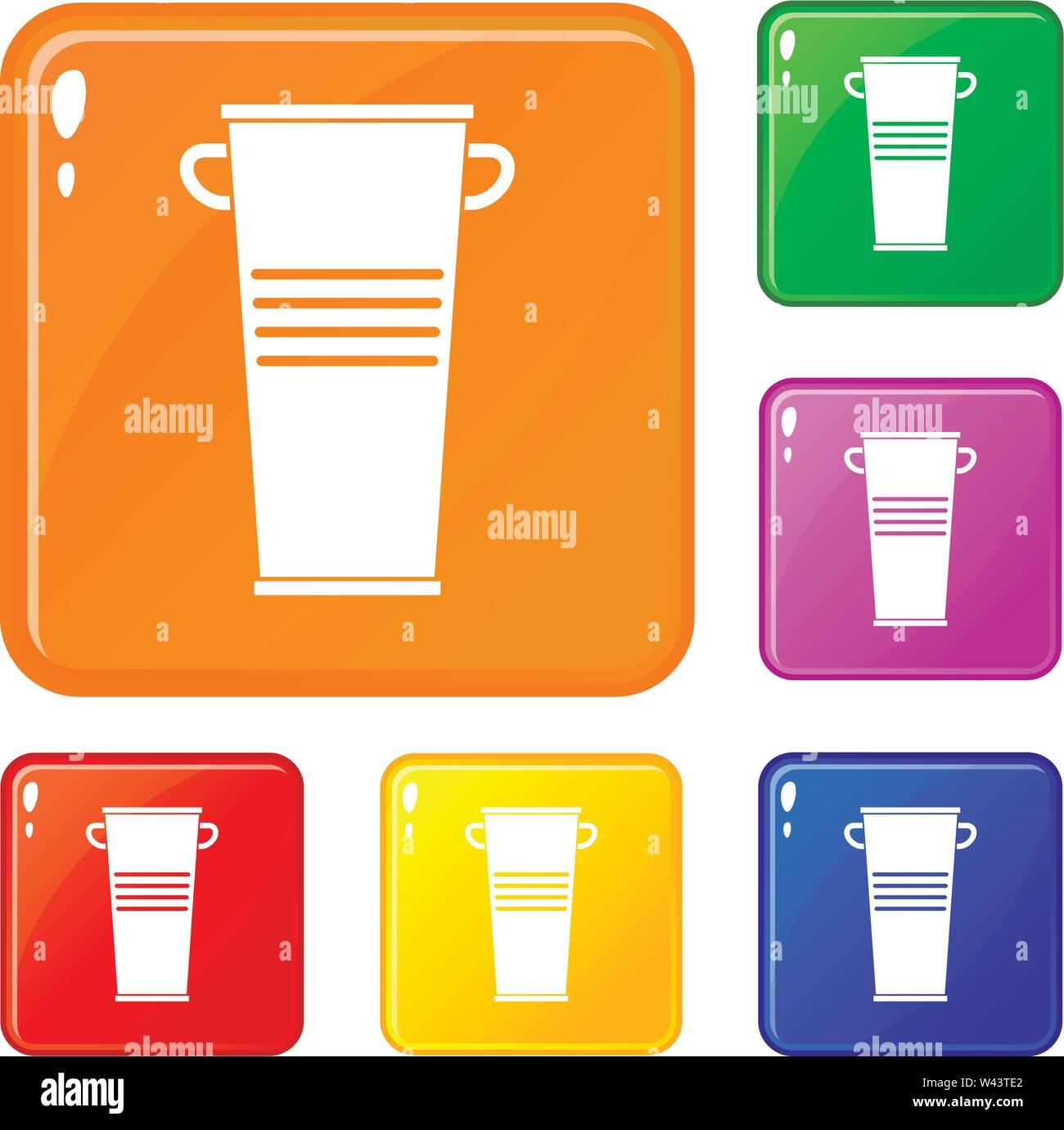 Trash can with handles icons set vector color - Stock Image