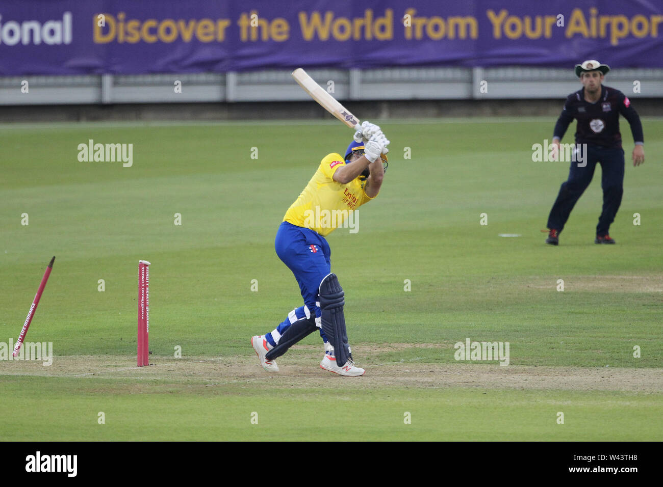CHESTER LE STREET, ENGLAND 19th July 2019. 2019. Ben Raine of Durham is bowled by Northants' Faheem Ashraf during the Vitality T20 Blast match between Durham County Cricket Club and Northamptonshire County Cricket Club at Emirates Riverside, Chester le Street on Friday 19th July 2019. (Credit: Mark Fletcher   MI News ) Credit: MI News & Sport /Alamy Live News - Stock Image