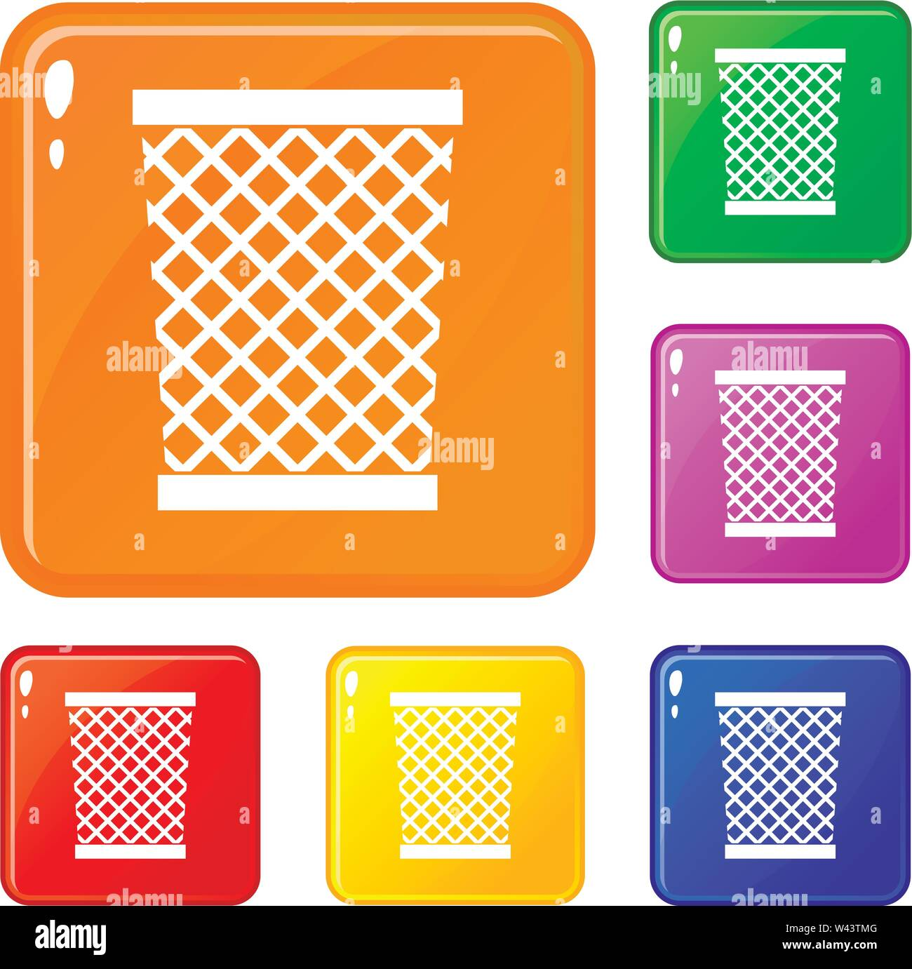 Wastepaper basket icons set vector color - Stock Image