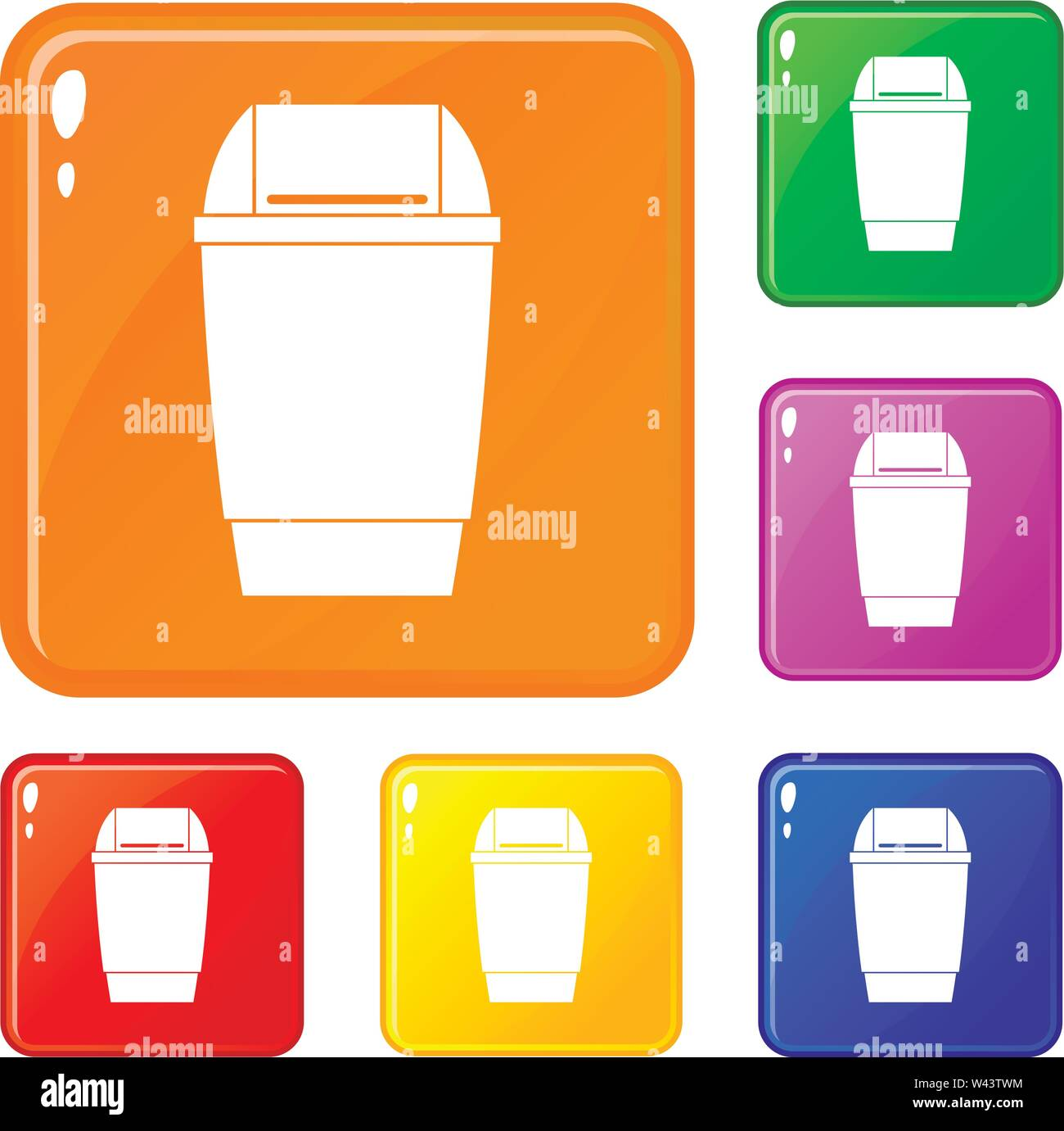 Flip lid bin icons set vector color - Stock Image