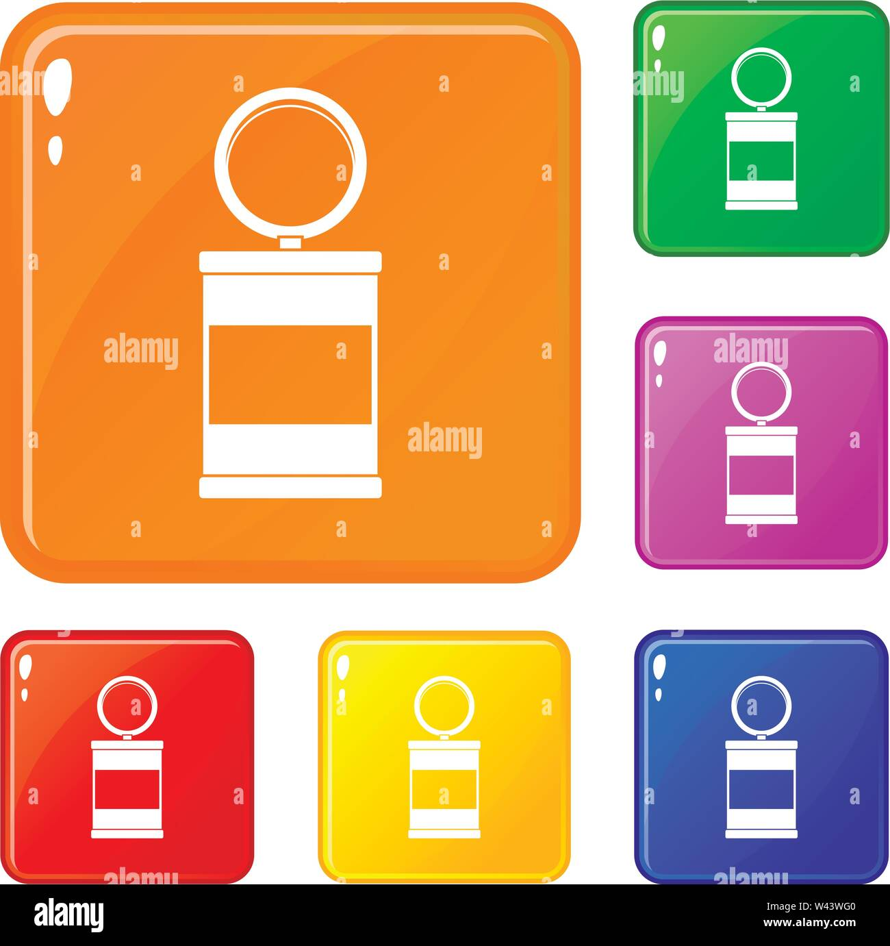 Trash can with pedal icons set vector color - Stock Image