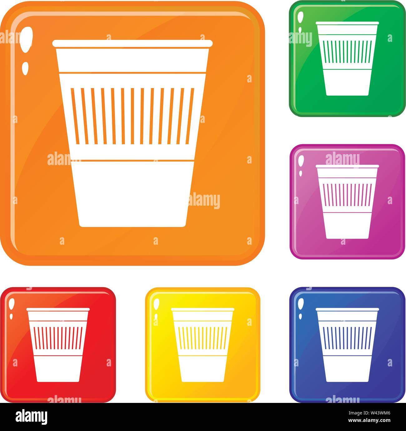 Plastic office waste bin icons set vector color - Stock Image
