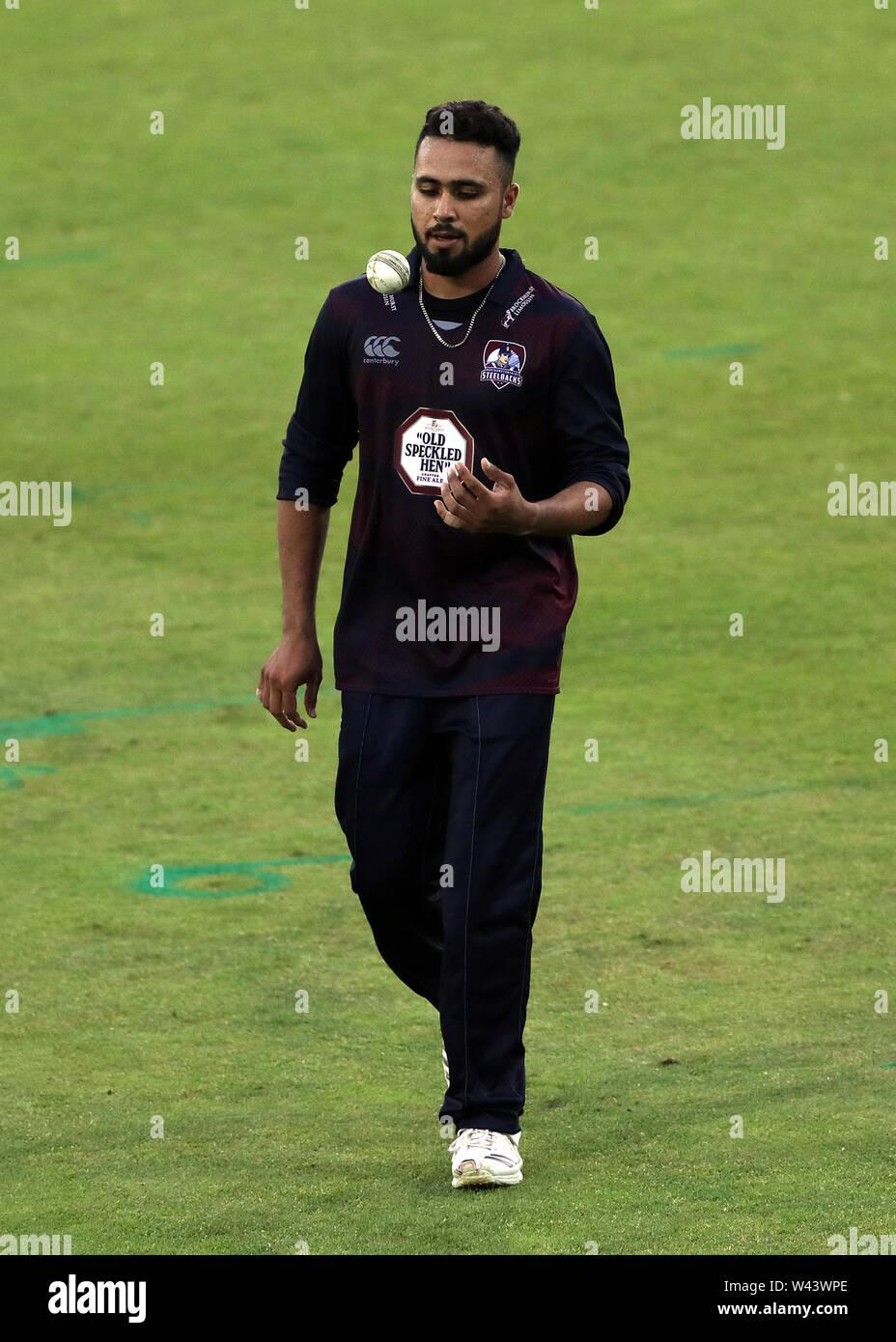 Northamptonshire's Faheem Ashraf during the Vitality Blast T20 match at Emirates Riverside, Durham. - Stock Image