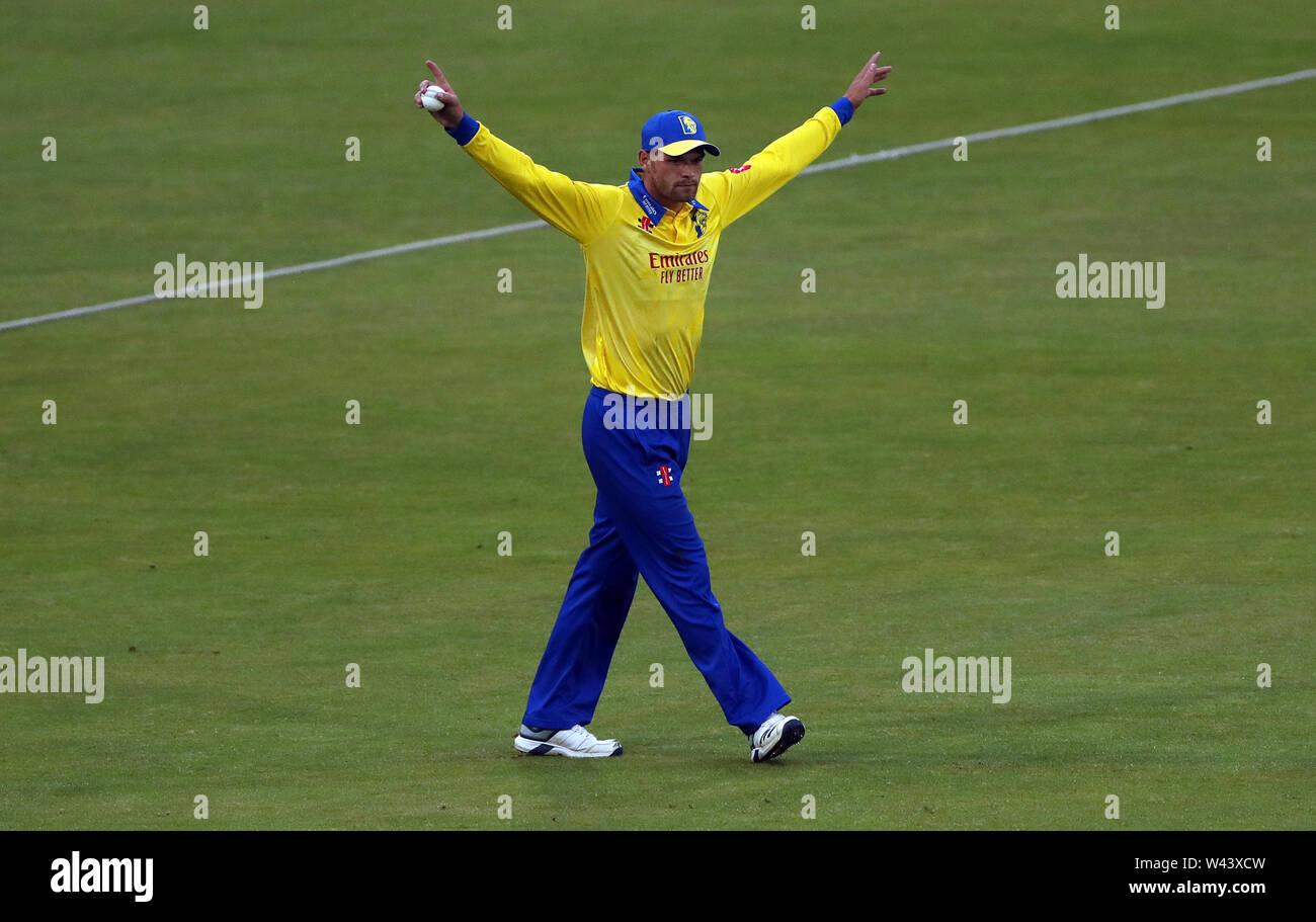 Durham's Jack Burnham celebrates catching Northamptonshire's Matt coles during the Vitality Blast T20 match at Emirates Riverside, Durham. - Stock Image