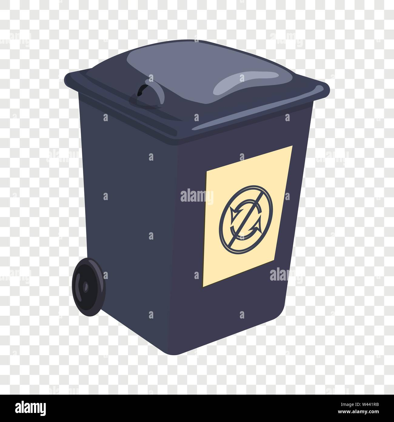 Trashcan icon, cartoon style - Stock Image