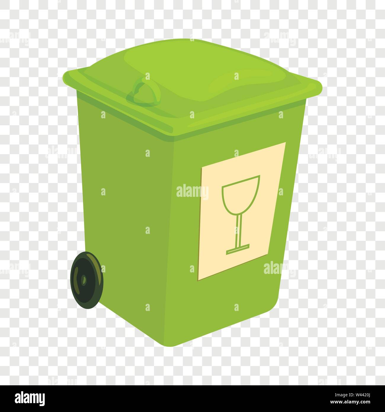 Green trashcan icon, cartoon style - Stock Image