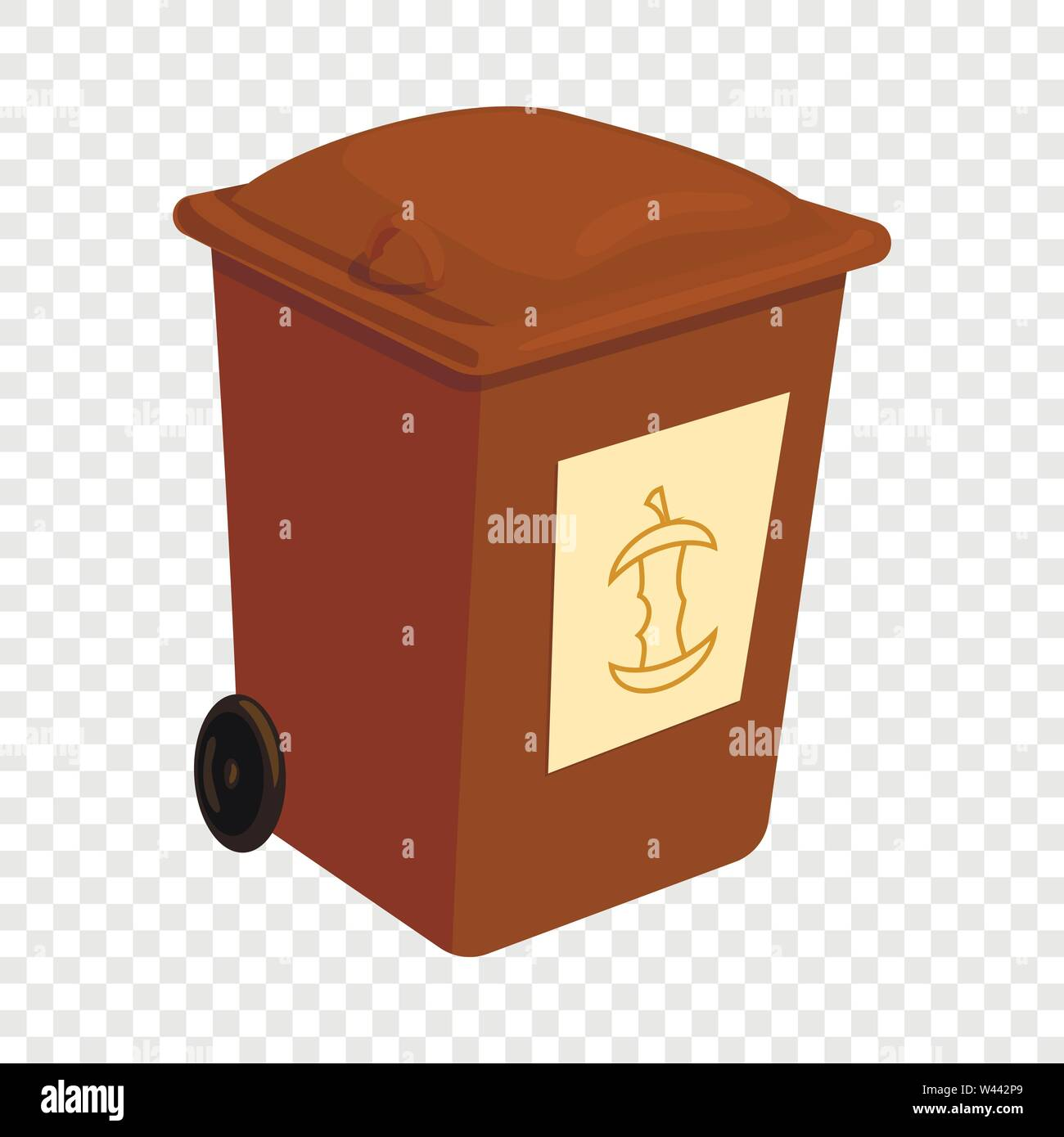Brown trashcan icon, cartoon style - Stock Image