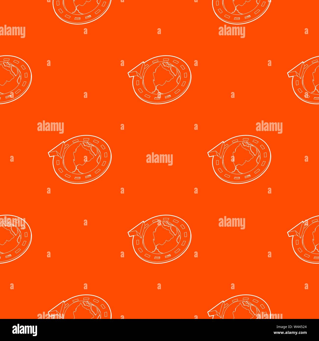Road around earth globe pattern vector orange - Stock Vector