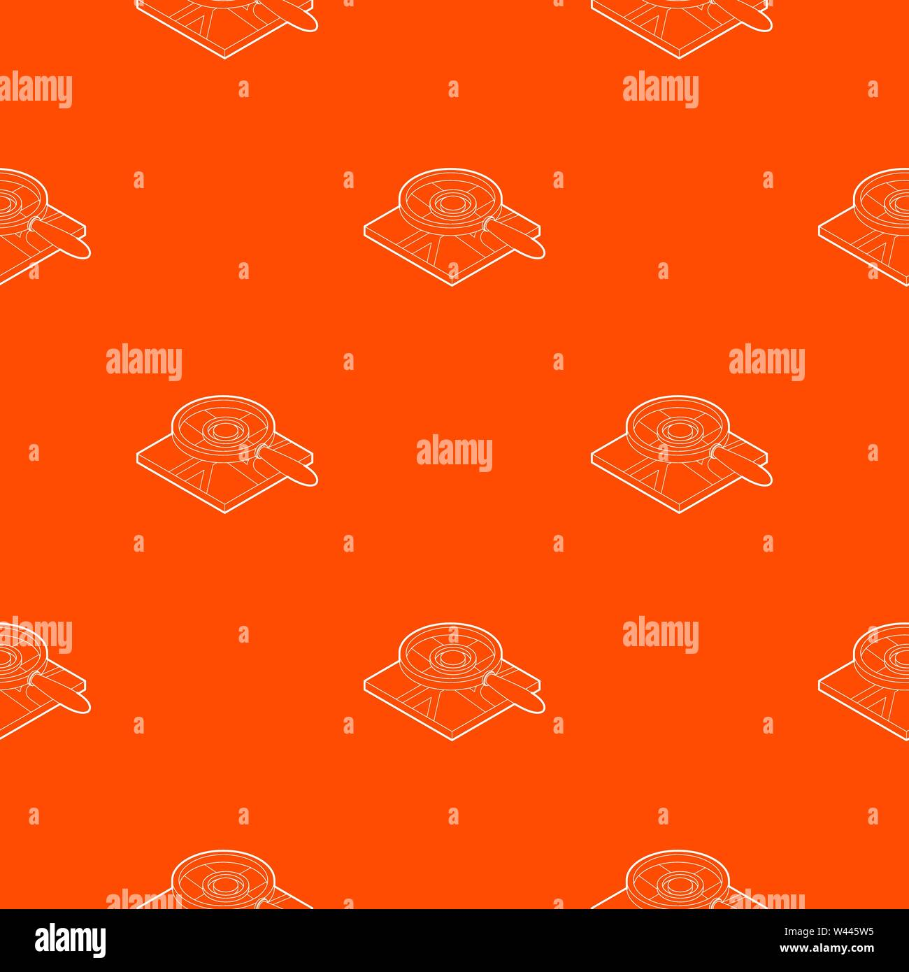 Magnifying glass over map pattern vector orange - Stock Vector
