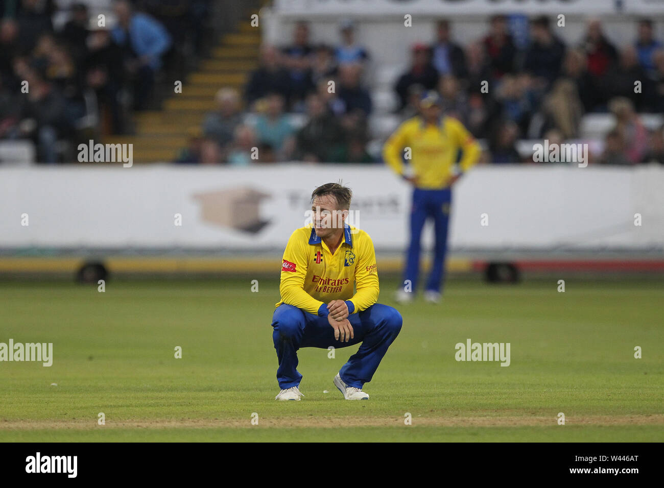 CHESTER LE STREET, ENGLAND 19th July 2019. D'arcy Short of Durham during the Vitality T20 Blast match between Durham County Cricket Club and Northamptonshire County Cricket Club at Emirates Riverside, Chester le Street on Friday 19th July 2019. (Credit: Mark Fletcher   MI News ) Credit: MI News & Sport /Alamy Live News - Stock Image