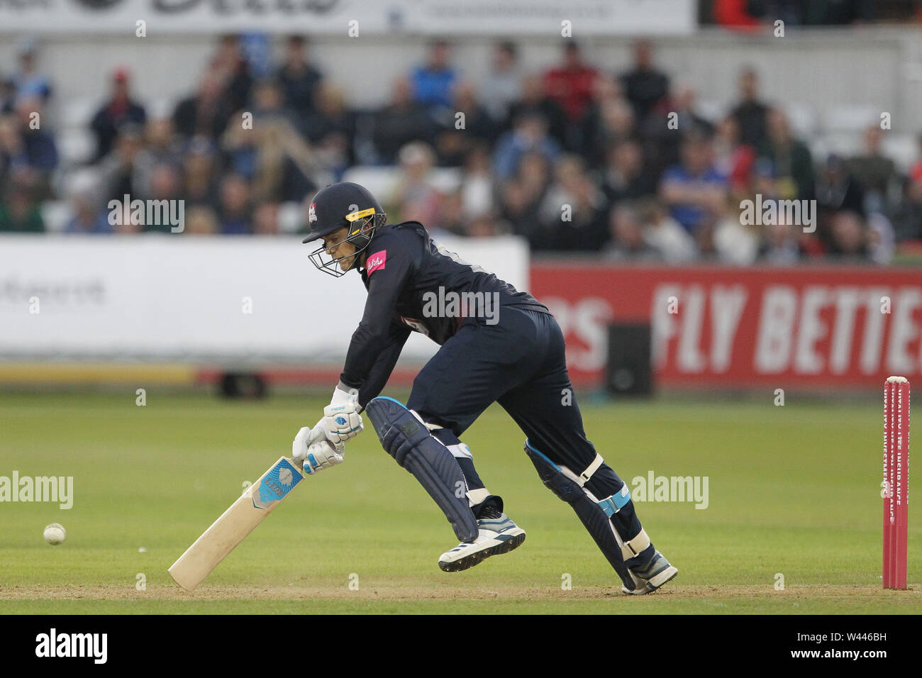 CHESTER LE STREET, ENGLAND 19th July 2019. Tom Sole of Northants batting during the Vitality T20 Blast match between Durham County Cricket Club and Northamptonshire County Cricket Club at Emirates Riverside, Chester le Street on Friday 19th July 2019. (Credit: Mark Fletcher   MI News ) Credit: MI News & Sport /Alamy Live News - Stock Image