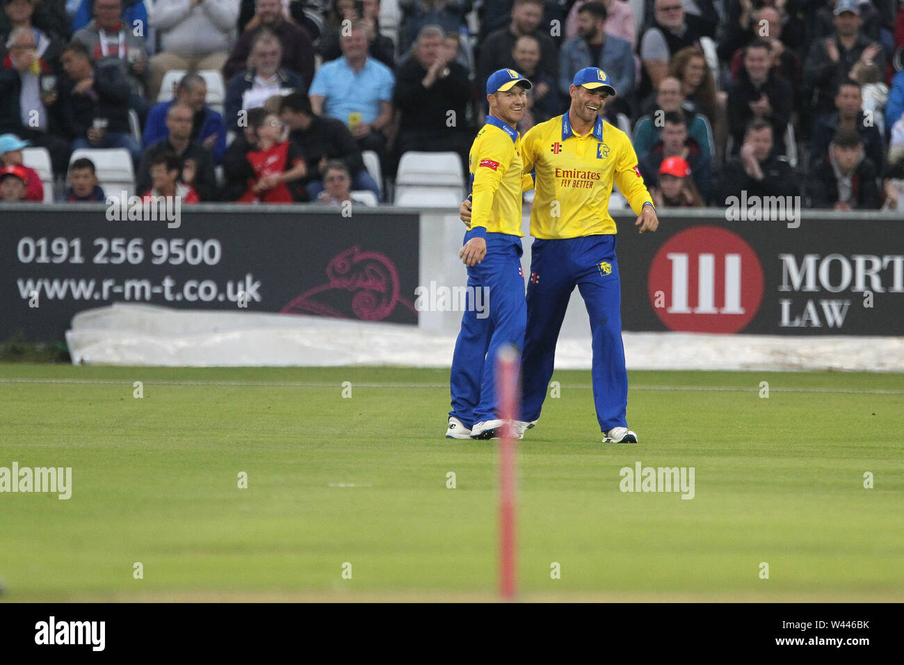 CHESTER LE STREET, ENGLAND 19th July 2019. Jack Burnham and D'arcy Short of Durham during the Vitality T20 Blast match between Durham County Cricket Club and Northamptonshire County Cricket Club at Emirates Riverside, Chester le Street on Friday 19th July 2019. (Credit: Mark Fletcher   MI News ) Credit: MI News & Sport /Alamy Live News - Stock Image