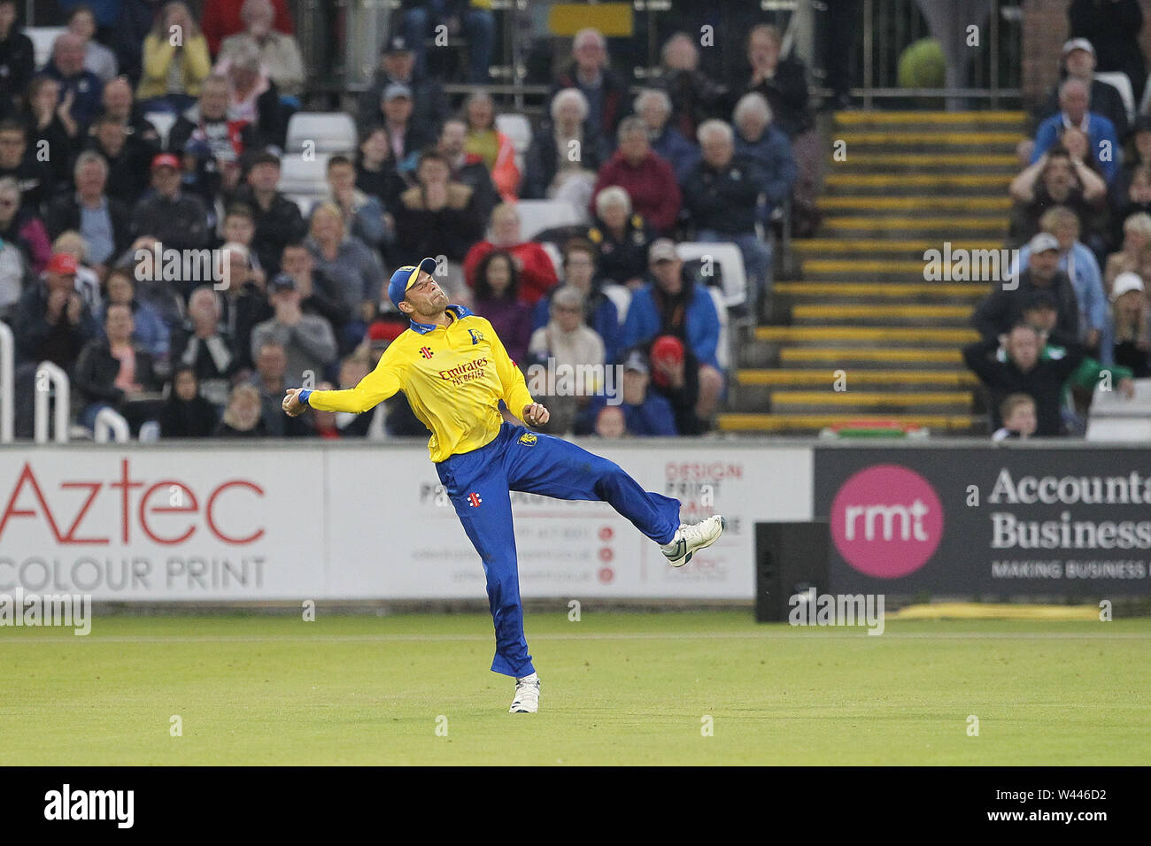CHESTER LE STREET, ENGLAND 19th July 2019. Jack Burnham of Durham in the field during the Vitality T20 Blast match between Durham County Cricket Club and Northamptonshire County Cricket Club at Emirates Riverside, Chester le Street on Friday 19th July 2019. (Credit: Mark Fletcher   MI News ) Credit: MI News & Sport /Alamy Live News - Stock Image