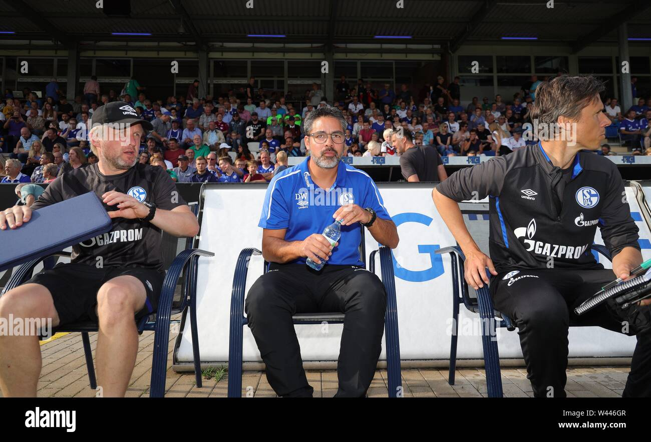 Lotte, Deutschland. 19th July, 2019. firo: 19.07.2019, football, 1.Bundesliga, season 2019/2020, friendly match, FC Schalke 04 - Norwich City coach David WAGNER, Schalke withte, with co-coach Christoph BUHLER, left and Frank FROHLING | usage worldwide Credit: dpa/Alamy Live News - Stock Image