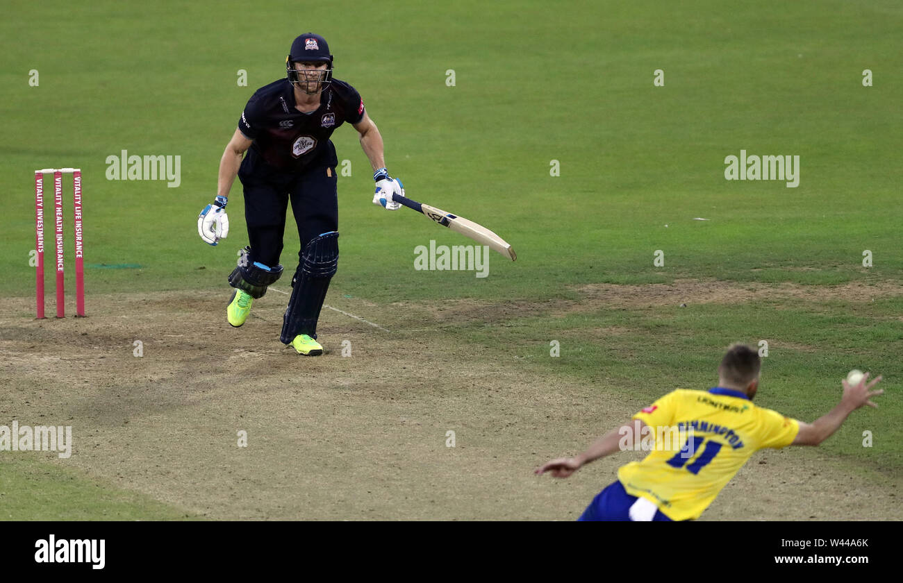 Northamptonshire's Rob Keogh plays a shot bowled by Durhams Nathan Rimmington during the Vitality Blast T20 match at Emirates Riverside, Durham. - Stock Image