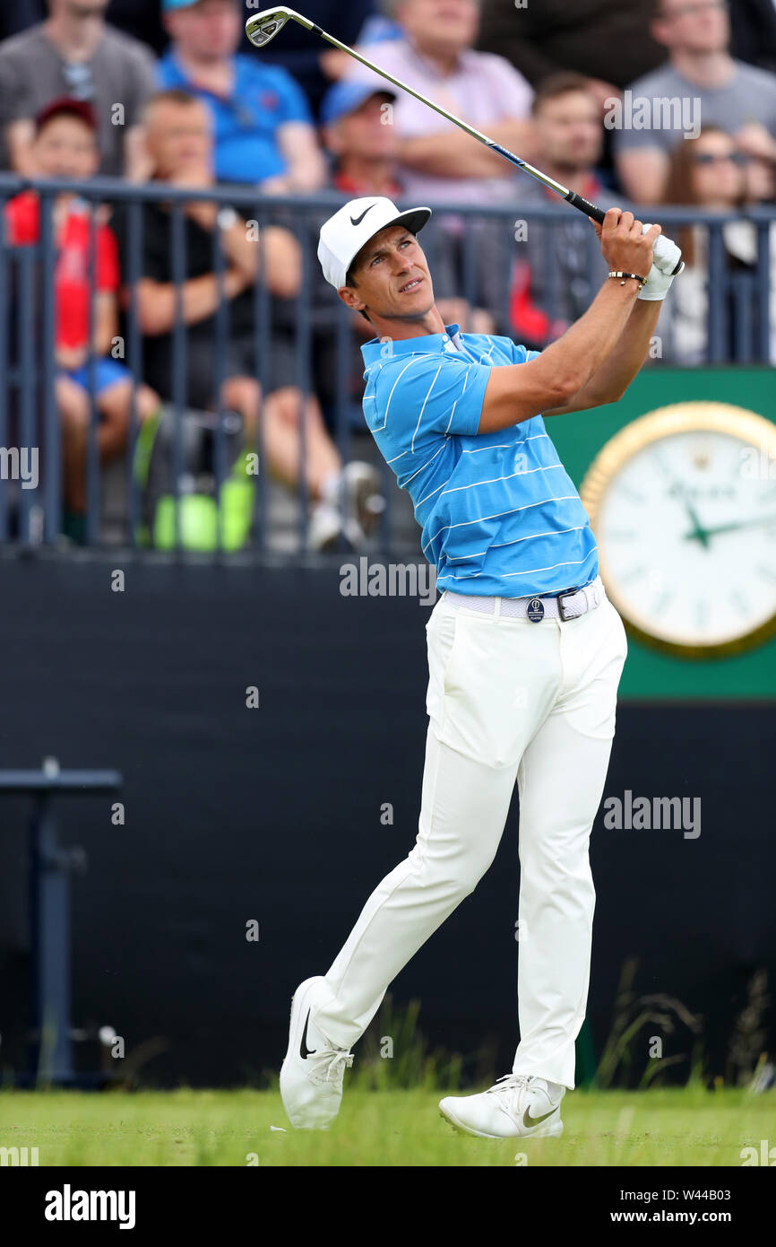Portrush, County Antrim, Northern Ireland. 19th July 2019. The 148th Open Golf Championship, Royal Portrush, Round Two ; Thorbjorn Oleson (DEN) follows the flight of his tee shot at the par three 13th hole Credit: Action Plus Sports Images/Alamy Live News Stock Photo