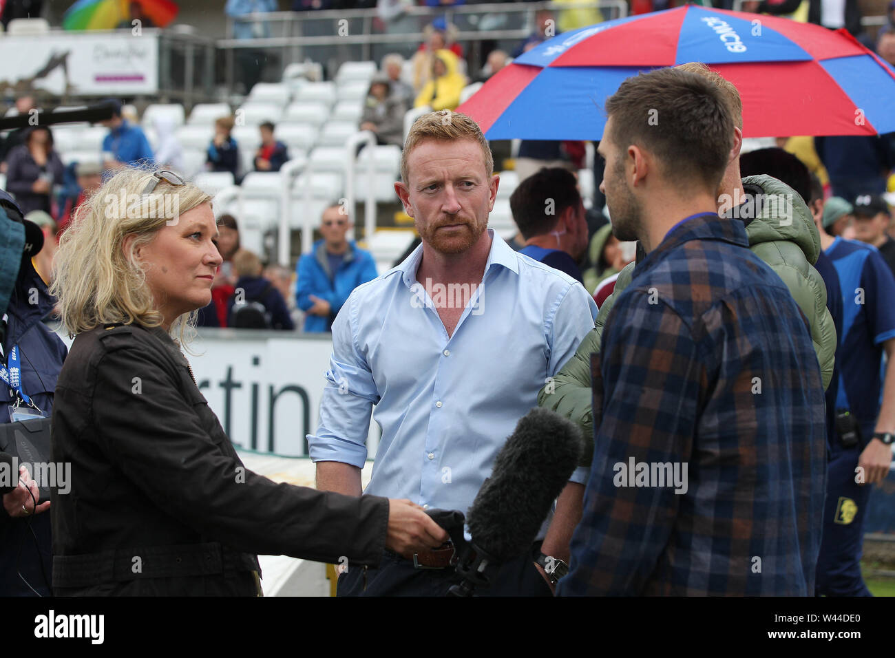 CHESTER LE STREET, ENGLAND. 19th July 2019. BBC Presenter Dawn Thewlis with Paul Collingwood, Ben Stokes and Mark Wood during the Vitality T20 Blast match between Durham County Cricket Club and Northamptonshire County Cricket Club at Emirates Riverside, Chester le Street on Friday 19th July 2019. (Credit: Mark Fletcher   MI News ) Credit: MI News & Sport /Alamy Live News - Stock Image