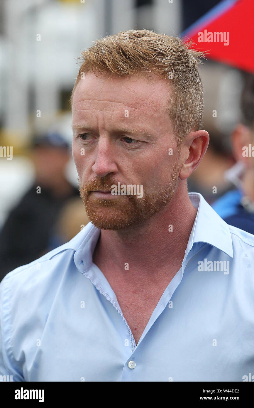 CHESTER LE STREET, ENGLAND. 19th July 2019. Paul Collingwood during the Vitality T20 Blast match between Durham County Cricket Club and Northamptonshire County Cricket Club at Emirates Riverside, Chester le Street on Friday 19th July 2019. (Credit: Mark Fletcher   MI News ) Credit: MI News & Sport /Alamy Live News - Stock Image