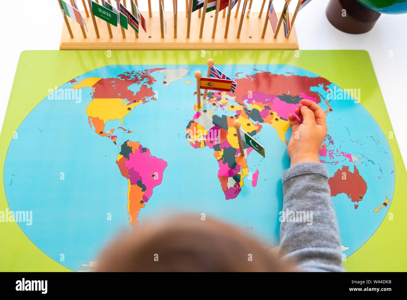 Map Of Spain For Children.Geography Exercise For Children Place Flags Of Countries On A Map