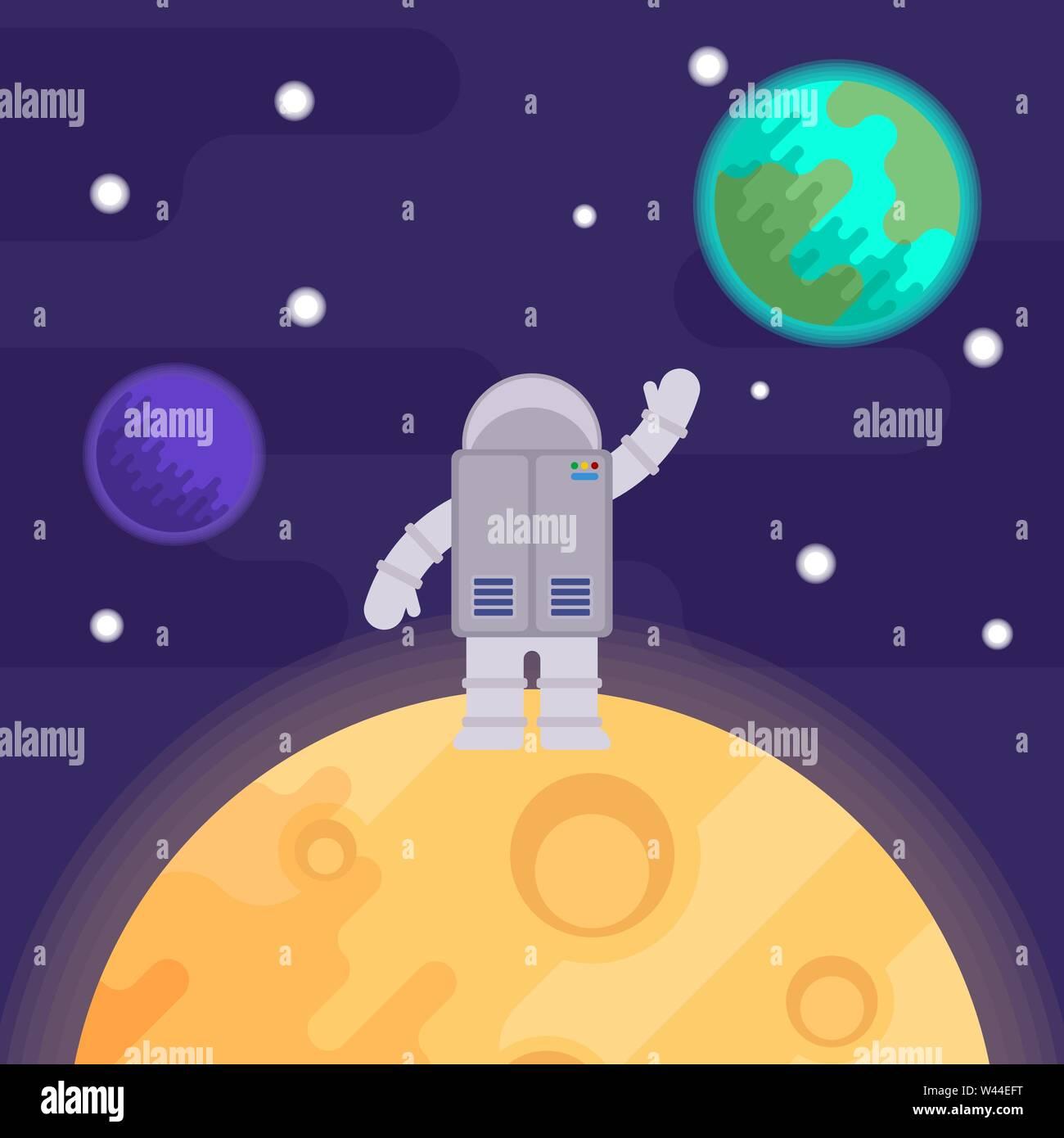 the first man on the moon, apollo 11. nasa. Vector flat illustration. - Stock Vector