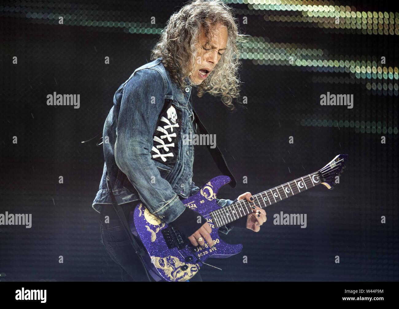 Metallica Performing On Their Worldwired Tour 2019 at Manchester Etihad Stadium Featuring: Metallica, Kirk Hammett Where: Manchester, United Kingdom When: 18 Jun 2019 Credit: Sakura/WENN.com - Stock Image