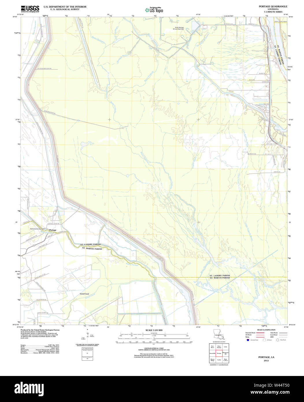 USGS TOPO Map Louisiana LA Portage 20120423 TM - Stock Image