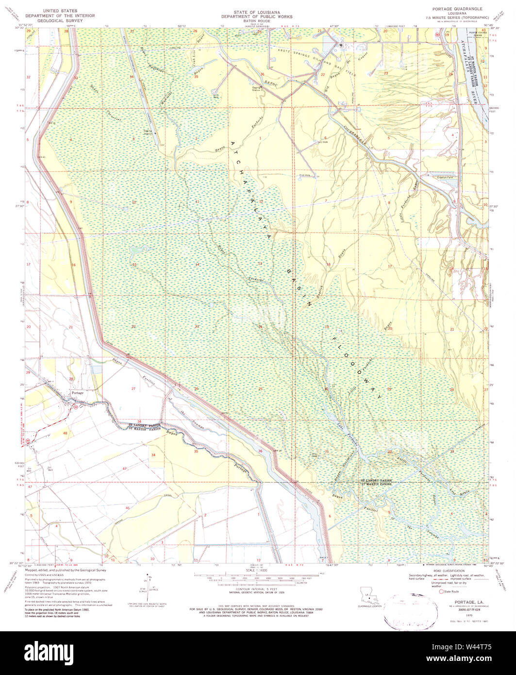 USGS TOPO Map Louisiana LA Portage 333127 1970 24000 - Stock Image