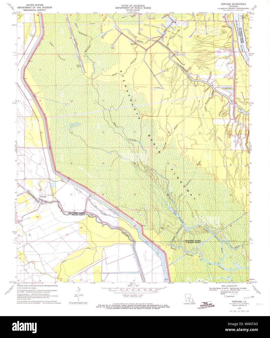 USGS TOPO Map Louisiana LA Portage 333128 1970 24000 - Stock Image