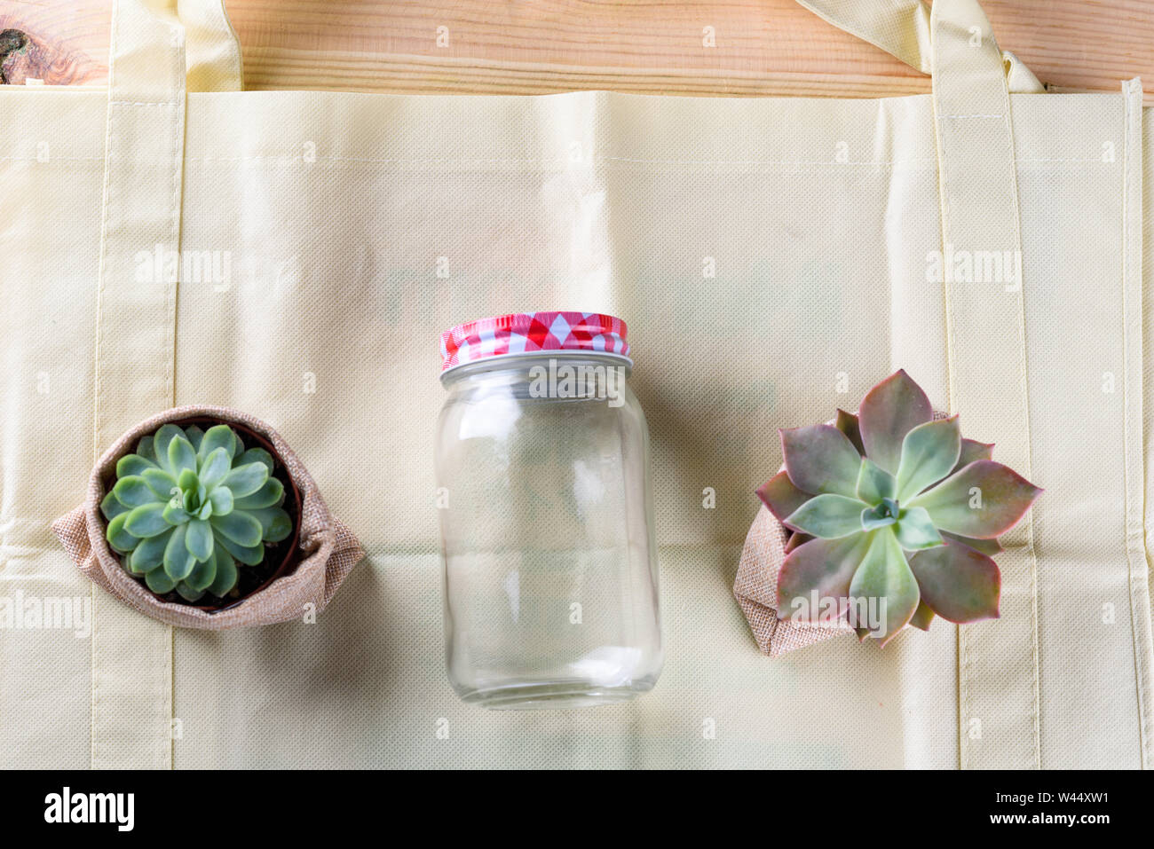 World free of plastic.Green products - bag made from bamboo or reuse, succulent and glass jar on nature wood background. Stock Photo