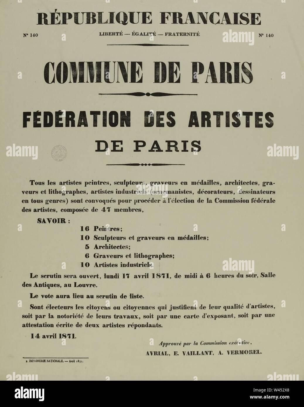 Commune de Paris, élection de la commission fédérale des artistes (1871-04-14). - Stock Image