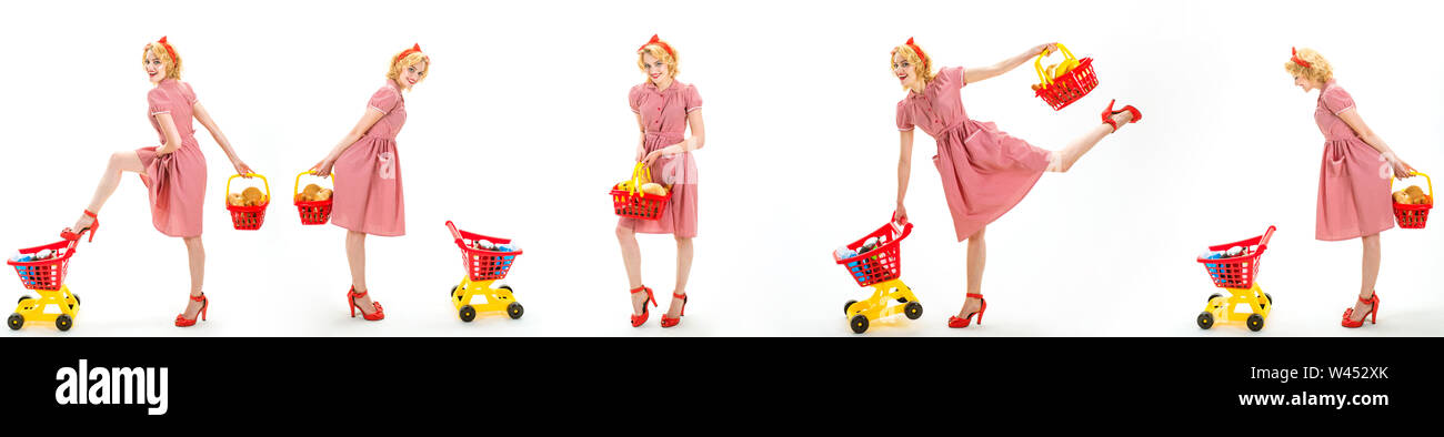 savings on purchases. happy shopping girls with full cart. online shopping app. vintage housewife women going to make payment in supermarket. retro wo Stock Photo