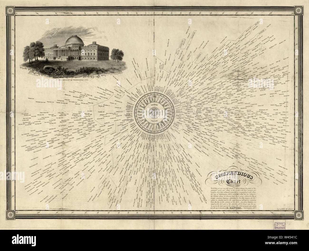 Compendious chart exhibiting, at one view, the names of about thirteen hundred of the principal ports and places in the world, with their bearings per compass, and their distances expressed in - Stock Image