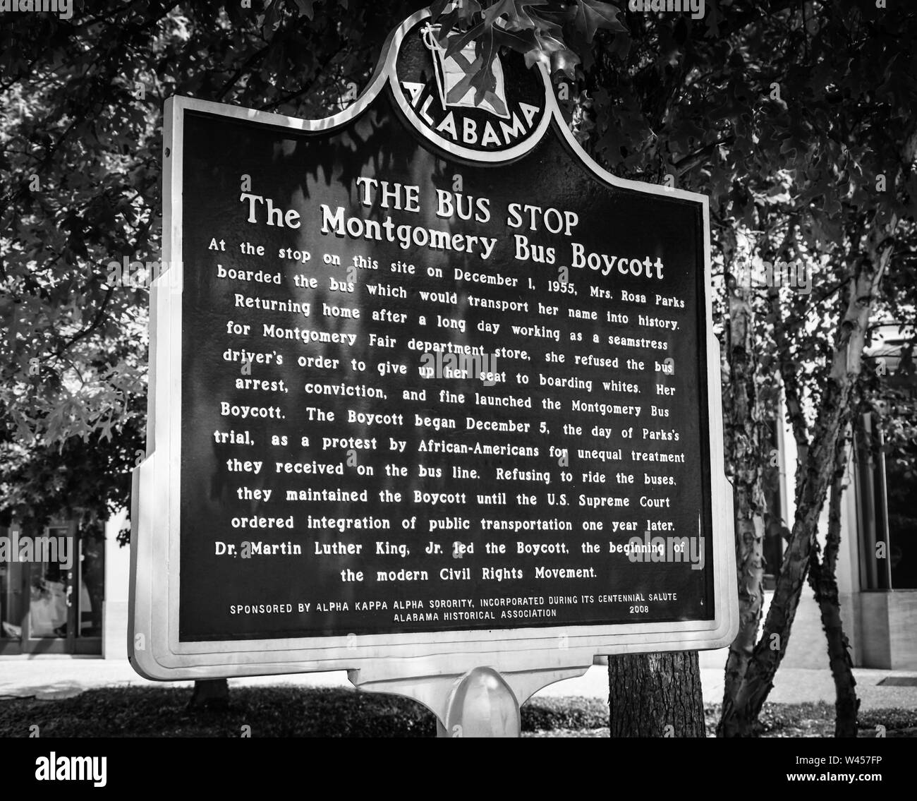 The historic marker of the bus stop where Rosa Parks boarded on the day she initiated the Montgomery Bus Boycott with the help of MLK, Jr, in Montgome Stock Photo
