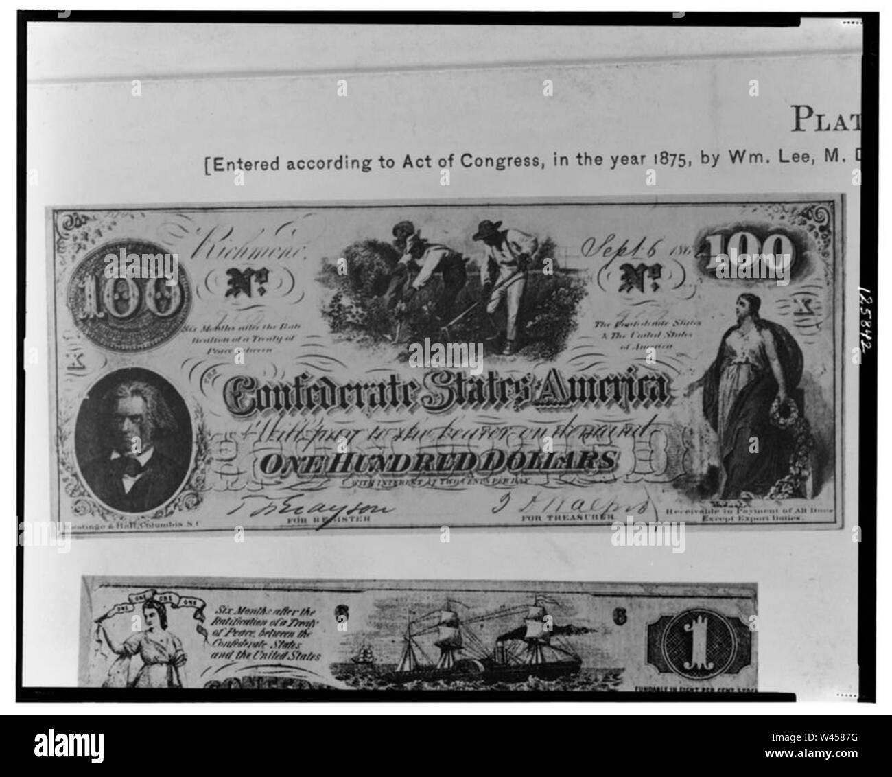 Confederate one hundred dollar bill - Stock Image