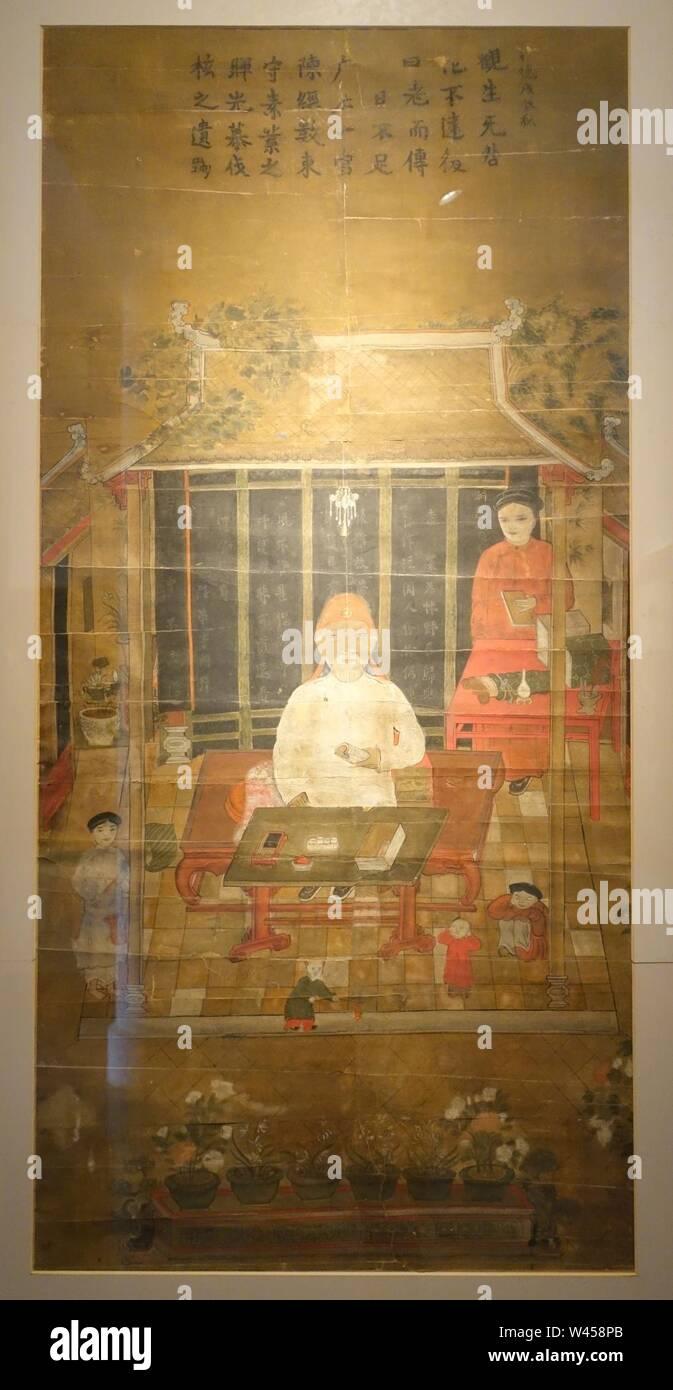 Confucian scholar Nguyen Sieu giving lecture, Hanoi City, 1853 AD, gouache on paper - Stock Image