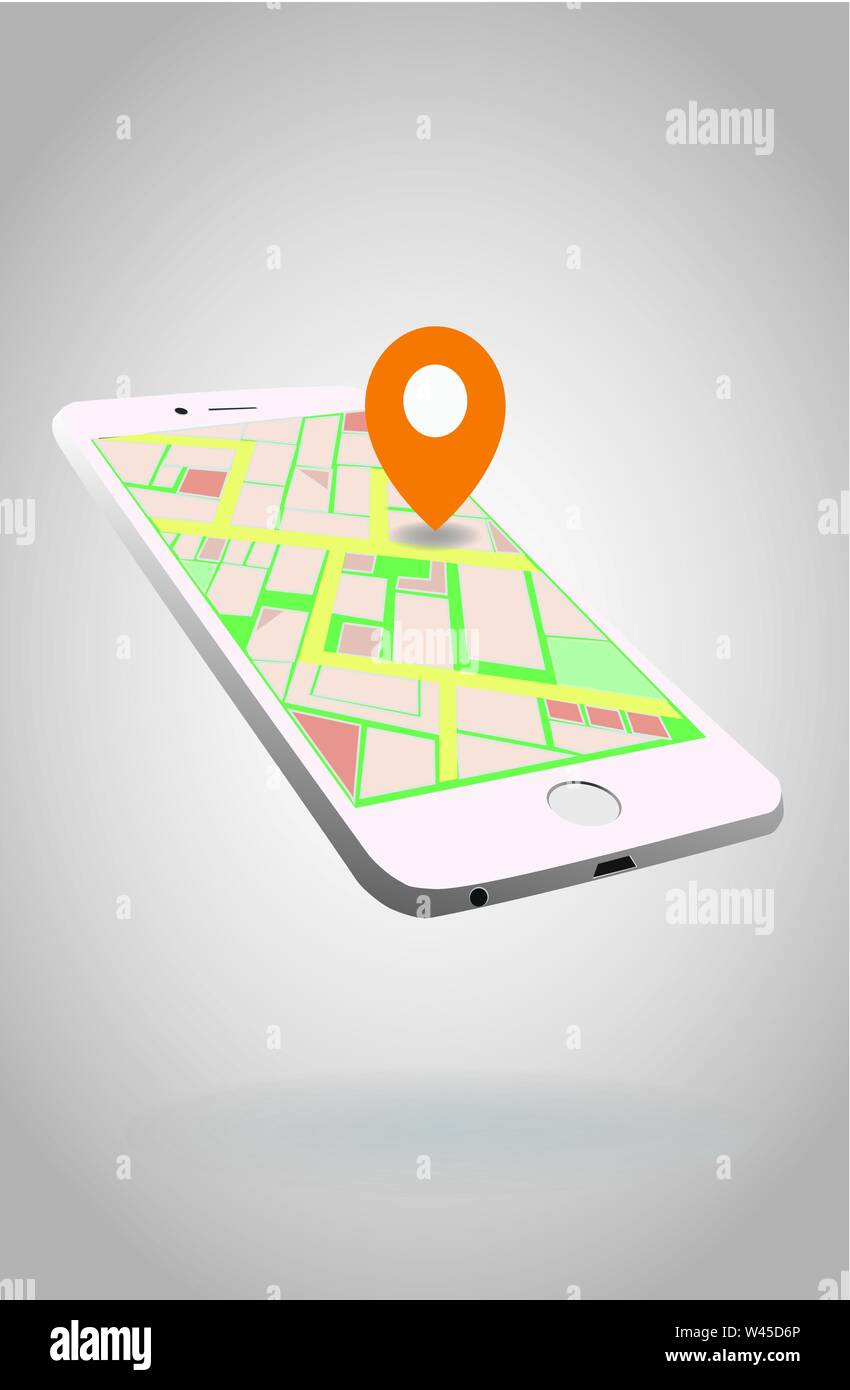 Navigation application on mobile phone. City map with pointer on mobile screen. GPS positioning. - Stock Vector