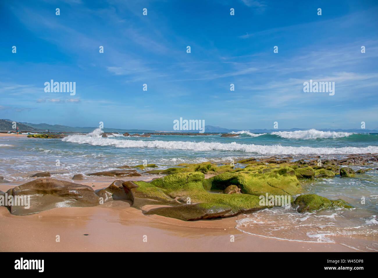 Beautiful virgin beaches of Andalusia, Valdevaqueros in Cadiz province Stock Photo