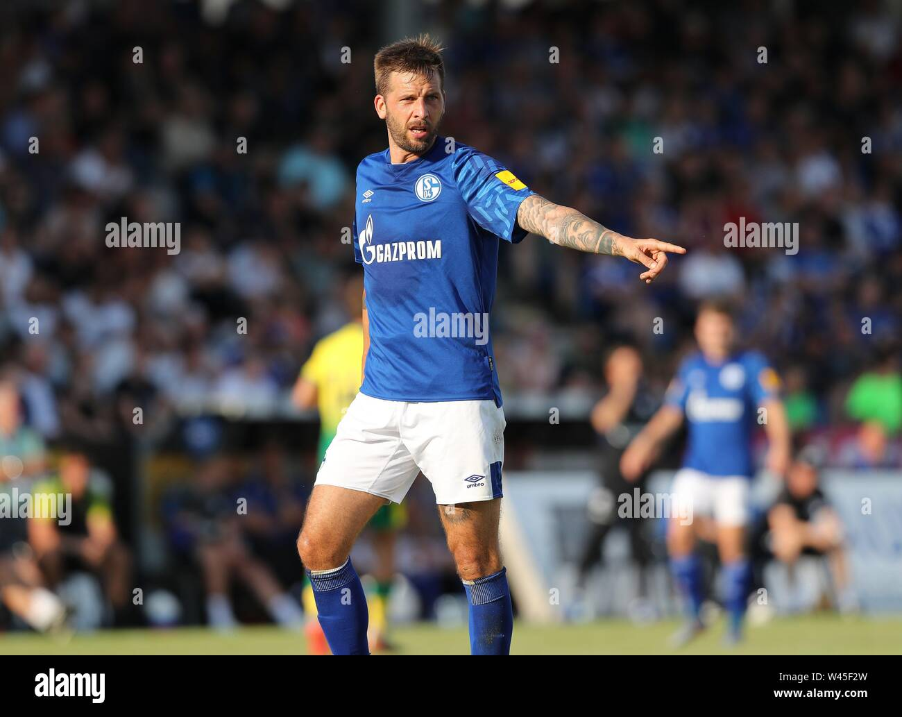 Lotte, Deutschland. 19th July, 2019. firo: 19.07.2019, football, 1.Bundesliga, season 2019/2020, friendly match, FC Schalke 04 - Norwich City BURGSTALLER, Schalke, gesture | usage worldwide Credit: dpa/Alamy Live News - Stock Image