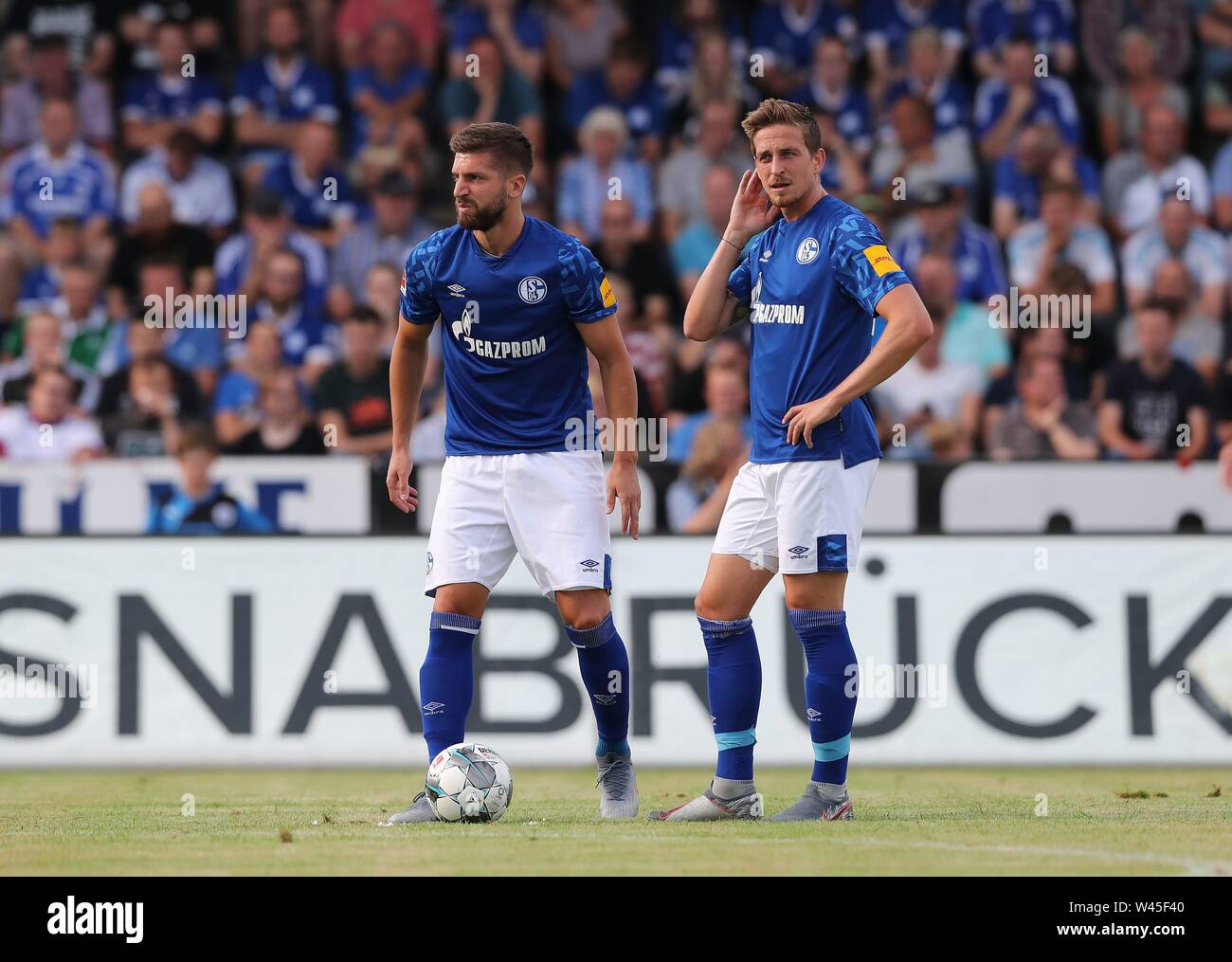 Lotte, Deutschland. 19th July, 2019. firo: 19.07.2019, football, 1.Bundesliga, season 2019/2020, friendly match, FC Schalke 04 - Norwich City Matija NASTASIC, Schalke, left with OCZIPKA | usage worldwide Credit: dpa/Alamy Live News - Stock Image