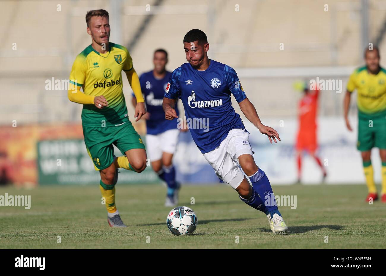 Lotte, Deutschland. 19th July, 2019. firo: 19.07.2019, football, 1.Bundesliga, season 2019/2020, friendly match, FC Schalke 04 - Norwich City Levent MERCAN, Schalke, single action | usage worldwide Credit: dpa/Alamy Live News - Stock Image