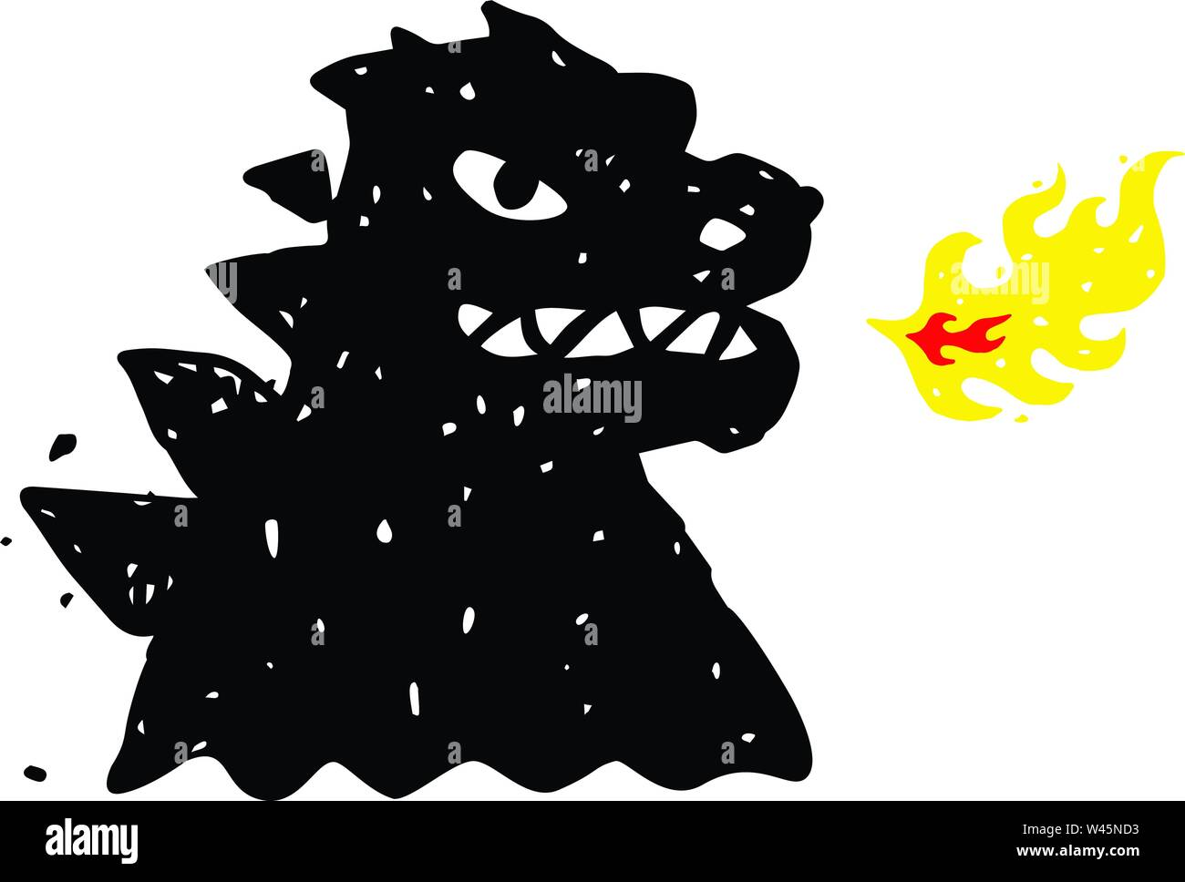 Logo, illustration of godzilla, dragon. Vector flat logo. Image is isolated on white background. Sign, mascot of the company. Corporate identity. Fire - Stock Image